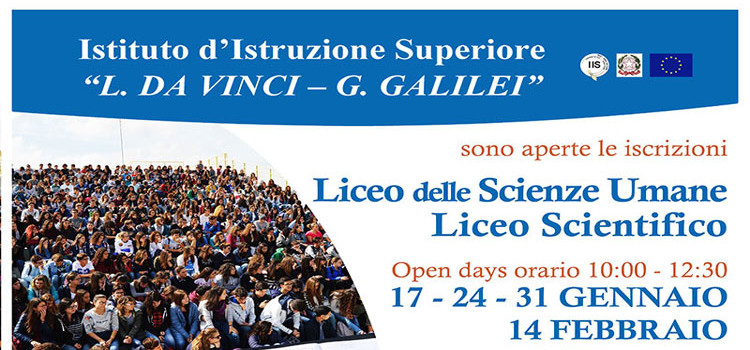 Nuove opportunità e open days all'IIS Da Vinci-Galilei