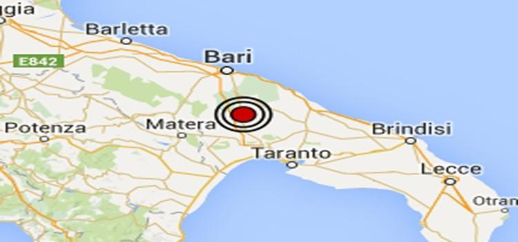 Terremoto in Puglia: lieve scossa di Magnitudo 2.3 in provincia di Bari