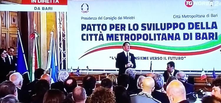 """Renzi a Bari per firmare il """"Patto per lo sviluppo della città metropolitana"""""""