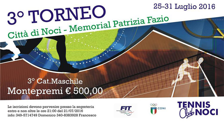 "Tennis: 3° torneo ""Città di Noci"", in memoria di Patrizia Fazio"