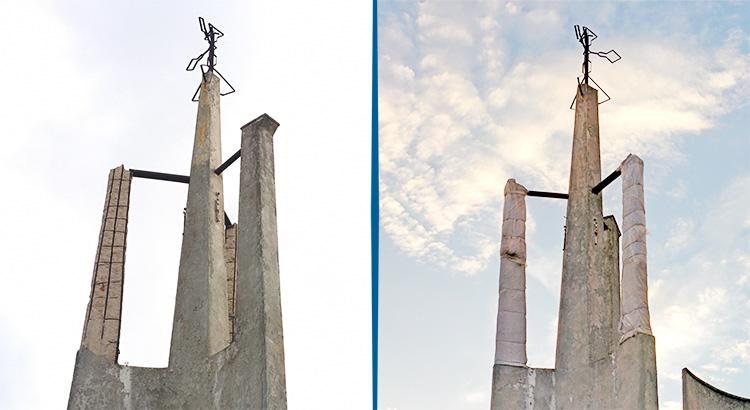 Il prima e il dopo i lavori di messa in sicurezza del campanile nell'estate 2016