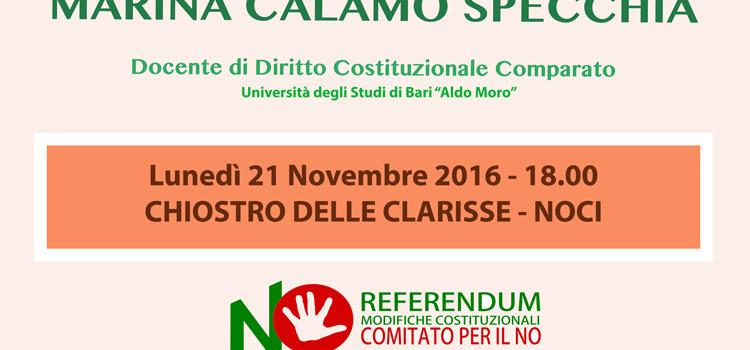 Comitato NO Referendum Noci, incontro pubblico con la Prof.sa Specchia