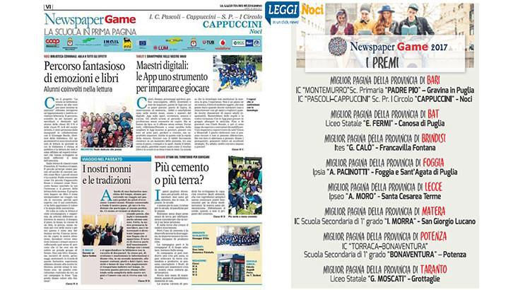 """Newspapergame: premiati gli alunni della scuola """"Cappuccini"""""""