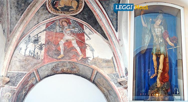 Due rappresentazioni dell'arcangelo Michele. A sinistra l'affresco della cappella della Ss. Trinità nella Chiesa Madre e a destra la statua nella chiesa Ss Nome di Gesù.