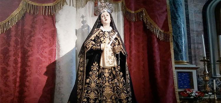La statua dell'Addolorata esposta alla mostra 'Facies Passionis' di Taranto