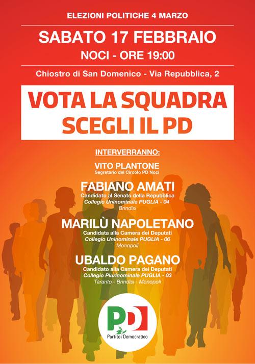 Prossimi eventi vota la squadra scegli pd leggi noci for Deputati del pd