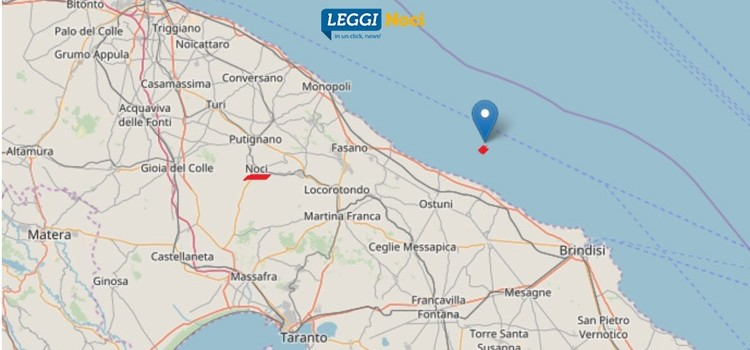 Scossa di terremoto in Mar Adriatico, vibrazioni avvertite anche a Noci