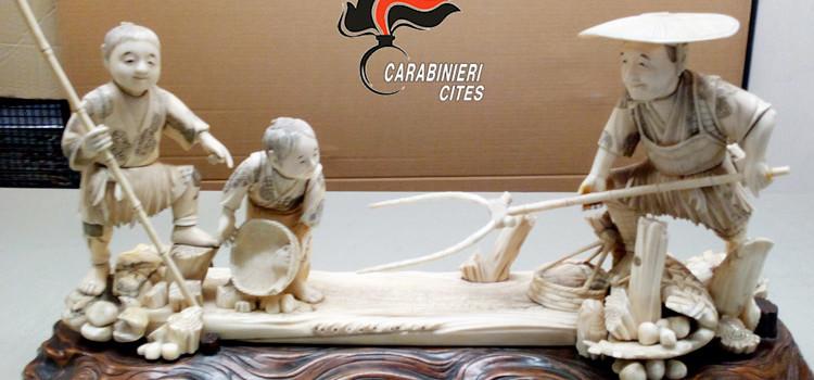 In vendita senza autorizzazioni, sequestrati manufatti in avorio