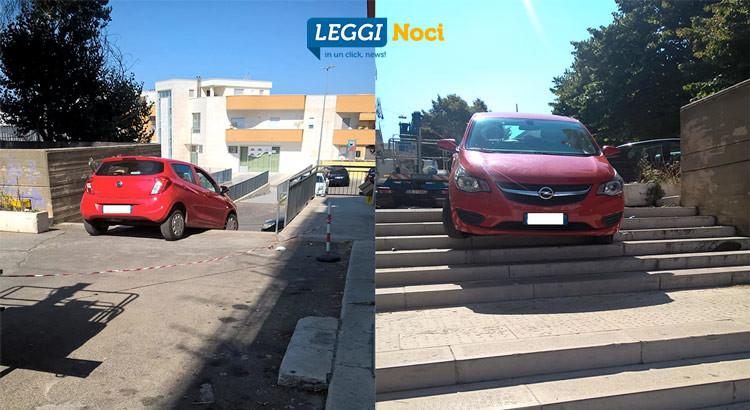 Auto si incastra sulla scalinata