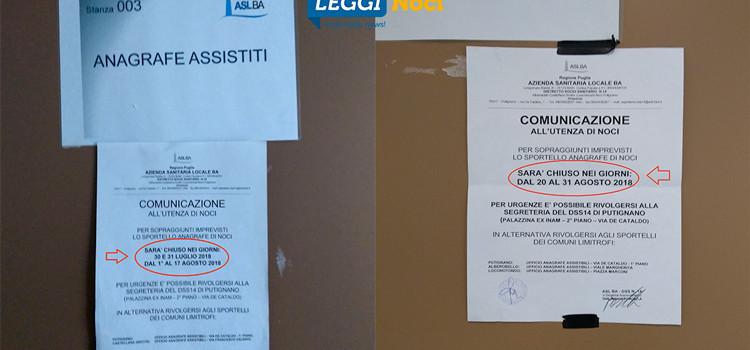 """Uffici Asl: la """"farsa"""" dell'Anagrafe Assistiti di Noci"""