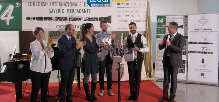 """Brancati è il vincitore del 14° concorso internazionale di clarinetto """"Saverio Mercadante"""""""