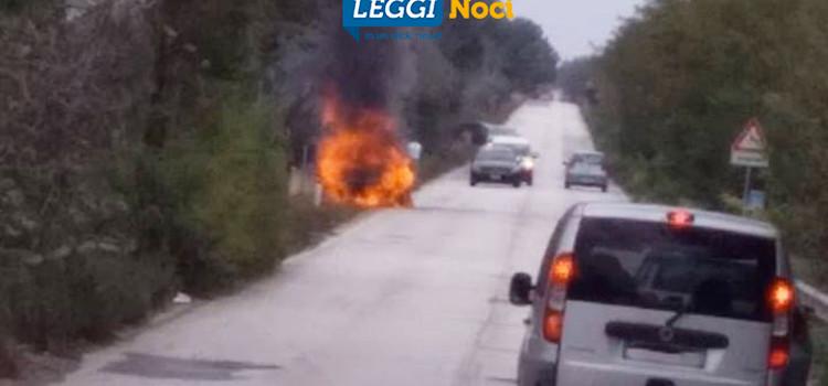 Auto in fiamme sulla Gioia-Noci