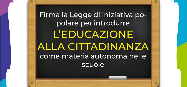 Educazione alla cittadinanza nelle scuole, domenica in piazza la raccolta firme