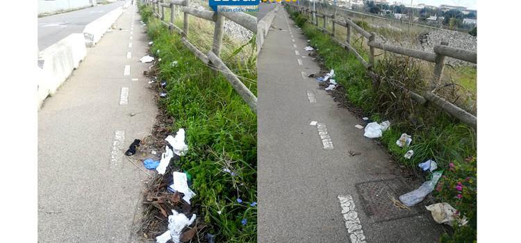 Pista ciclopedonale disseminata di rifiuti