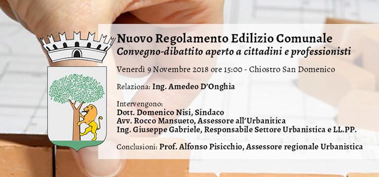 Nuovo Regolamento Edilizio Comunale: convegno-dibattito aperto ai cittadini