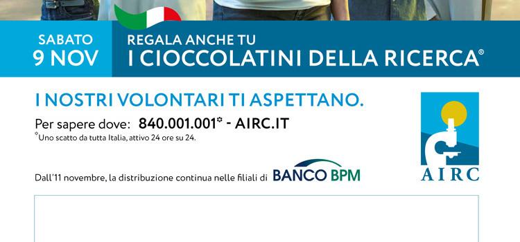 """A Noci il 9 e il 10 i """"Cioccolatini della Ricerca"""" per sostenere il lavoro dei ricercatori AIRC"""