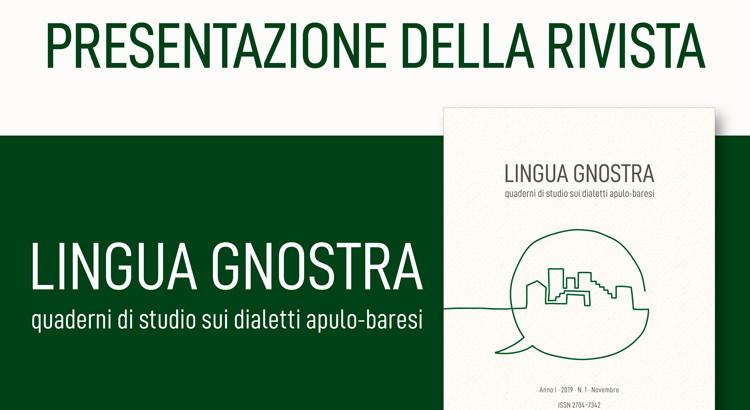 """Nasce """"Lingua Gnostra"""", la rivista dei dialetti Apulo-Baresi"""