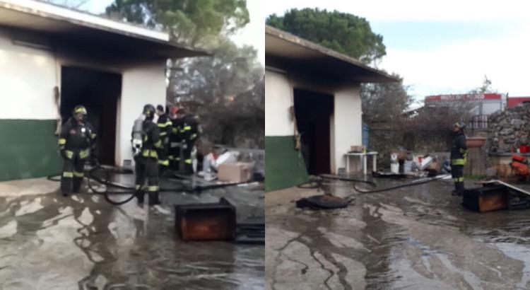 Sfiorata la tragedia. Prende fuoco deposito vicino abitazione