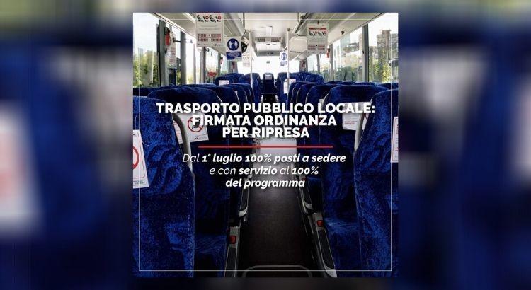 Trasporti pubblici, nuova ordinanza: da domani tutti i posti a sedere occupati