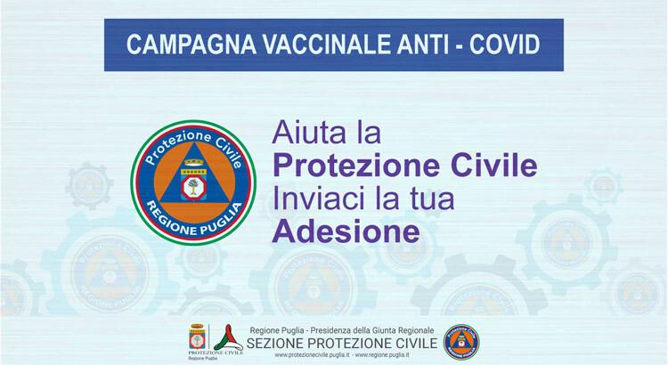 Covid, Puglia: al via reclutamento nuovi volontari Protezione civile per campagna vaccinale